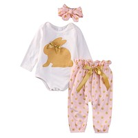 2016 baby girl clothes Rabbit printed Long sleeves Romper+pants+headband infant clothing 3pcs set newborn baby boy clothes sets