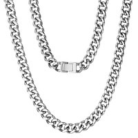 Men's 12mm Silver Hip Hop Cuban Chain Necklace