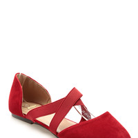 Red Faux Suede Criss Cross Flats