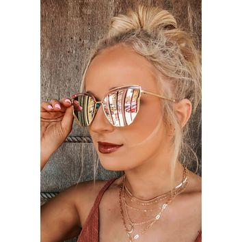 Play It Cool Sunglasses: Gold/Rose Gold