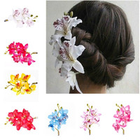 Fashion Woman Wedding Phalaenopsis Flower Hair Clip Bridal Hawaii Party Corsage = 1933074564