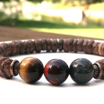 Men's Red, Blue and Yellow Tiger Eye Bracelet with Coco Wood