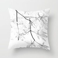 black and white maple leaves  Throw Pillow by Color and Color