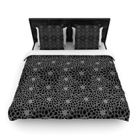 "Julia Grifol ""Black Flowers"" Dark Floral Woven Duvet Cover"