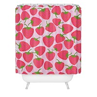 Lisa Argyropoulos Strawberry Sweet In Pink Shower Curtain