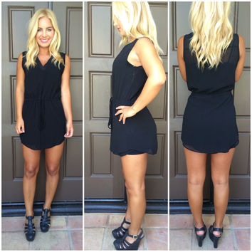 Drawstring Tank Dress - BLACK