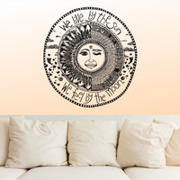 Wall Decal Vinyl Sticker Decals Decor Design We Live by the sun We feel by the moon Stars Qoute Ethnical Symbol Bedroom Dorm Office (r1167)