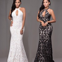 Casual Black Floral Lace Cut Out Halter Neck Off Shoulder Prom Party Maxi Dress