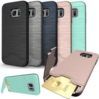 for Samsung Galaxy A3 A5 A7 2017 Coque Stand Luxury Hybrid Credit Card pocket Hidden pouch Samsung Galaxy S7 edge S8 Plus case