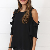 Ruffle Cold Shoulder Blouse {Black}