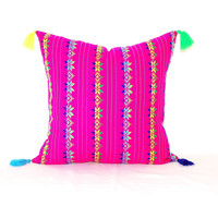 Mexican Pillow cover 20X20, Bohemian Decor, Boho Bedding, Pink Pillow Cover with tassels,