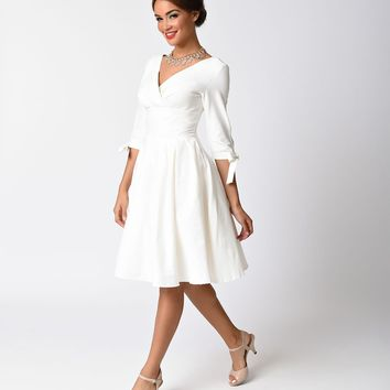 Unique Vintage 1950s Style White Three-Quarter Sleeve Diana Swing Dress