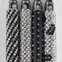 Swarovski Crystal Vape Pen - Blinged Out Joyetech Ego C Twist Battery with Crystal and Black Designs