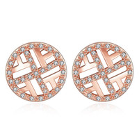 Rose Gold Plated Classic Circular Stud Earrings