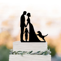 bride and groom Wedding Cake topper with child, family silhouette wedding cake topper with dog and  girls cake topper