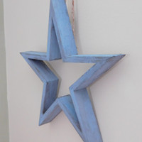 Star Wood Hanging - Blue Distressed Wall Decor - Country Home Decor - Wall Star