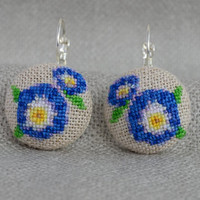 Earrings flowers Blue earrings Embroidered jewelry Unique blue flowers Handmade earrings Round flowers Round earrings Gift