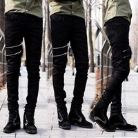 Men Biker Denim Jeans Zipper Ripped Jeans For Men Skinny Distressed Slim Fit Kanye West Skinny Jeans Hip Hop Swag Black Jean Man