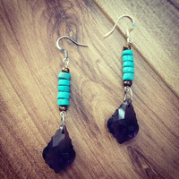 Pocahantas Earrings  Turquoise Flat Beads by TheLinkBoutique