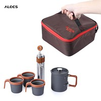 Outdoor Kit with French Press Pot Manual Coffee Bean Grinder Cups and Case
