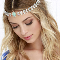 Throne It Gold and Turquoise Rhinestone Headpiece