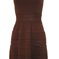 M.S.S.P. Brown Fine Knit Sleeveless A-Line Fall Dress - Extra Small