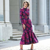 Fuchsia Vintage Flowers Mermaid Long Sleeve Maxi Dress