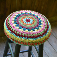 """Shabby Chic Stool 30""""  high with Granny Square Crochet Cover Black Multicolor Upcycle Recycle"""
