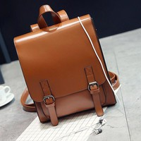 Women Backpack Korean Style Fashion PU Leather Hasp Backpacks For Teenagers School Girl Flap Pocket Back Bags Travel Mochila