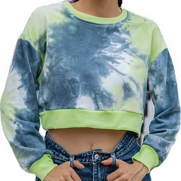 New hot sale short tie-dye round neck loose navel long-sleeved sweater women