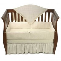 Heavenly Soft Minky Dot Solid Ecru Baby Crib Bedding from American Baby