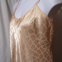 Sexy Night Gown, Long Chemise, Slip, Embossed Satin, Peachy Nude, Size XL Extra Large, Bridal Honeymoon, Bare Luxury