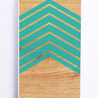Wood With Mint Chevron for Iphone 5C Hard Cover Plastic