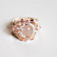 Swarovski beaded stretch ring wedding jewelry crystal rose quartz gemstone ring