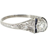Vintage Art Deco Diamond Sapphire 900 Platinum Filigree Engagement Ring Estate 8.5