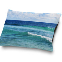 Quintana Roo - Pet Bed, Blue and Green Coastal Ocean Waves Accent, Beach Surf Style Coral Fleece Pet Pillow Bedding. In Small Medium Large