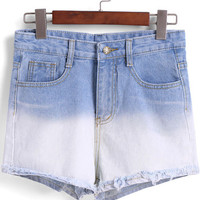 Blue Ombre Pockets Fringed Denim Shorts
