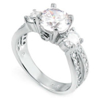 Sterling Silver CZ Three Stone Engagement Ring size 4-11