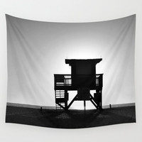 Lifeguard Outpost No.4 - Wall Tapestry, Beach Surf Tower, Black White Gray Coastal Home Interior Hanging. In 51x60 / 68x80 / 88x104 Inches