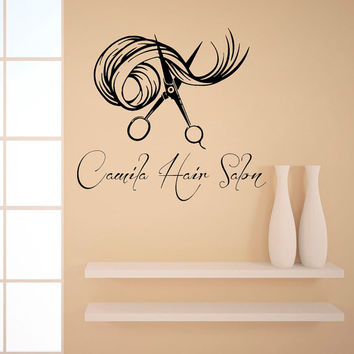 Custom Name Wall Decals Beauty Hair Salon Decor Logo Lettering Scissors Art Fashion Girl Woman Vinyl Decal Sticker Interior Design KG898
