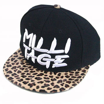 + Leopard Print Snapback Adjustable unisex Cap In Black