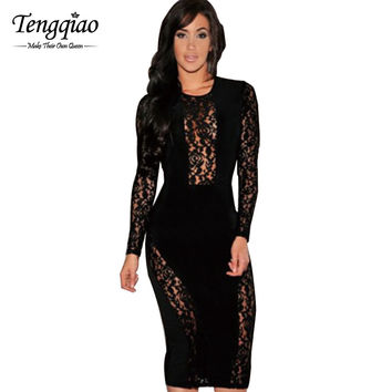 White Club Dresses Casual Dress Celeb Bodycon Midi Pencil Long Sleeve Lace Dress Knee Length Sexy Party Bandage Dress SM6