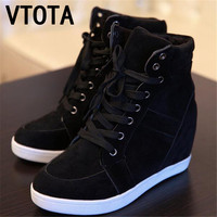 Free shipping boots women High Heel  fashion shoes woman zapatos mujer Wedges Casual Shoes Frosted lace Women Shoes X309