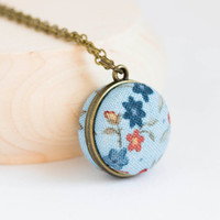 Macaroon necklace - Floral fabric necklace - girlish jewelry - button necklace
