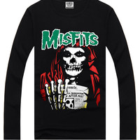 Black Hipster 3D Misfits Print Long Sleeve T-Shirt