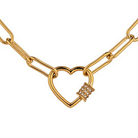 Gold Paperclip Necklace with Heart Pendant