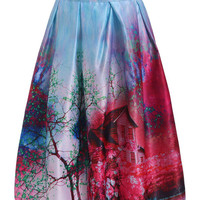 MultiColor Printed High Waist Midi Skirt