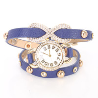 Royal Blue Faux Leather High Polish Metal Infinity Pendant Watch Bracelet
