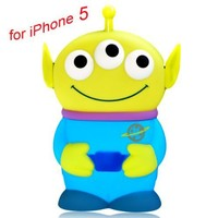 I Need(TM) Cartoon 3D 3 Eyes Toy Story Alien Movable Eye Hard Case Protector Shield Cover Compatible For iPhone 5 5G Gift (Blue)