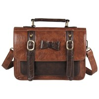ECOSUSI Faux Leather Vintage Messenger Purse School Satchel Bag